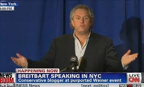 Andrew Breitbart holds court as he accidentally hijacked Anthony Weiners press conference. These 14 minutes were a pivot point of this story.