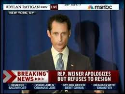 Moments after Breitbart's surprise appearance, a shaken Weiner finds contrition.
